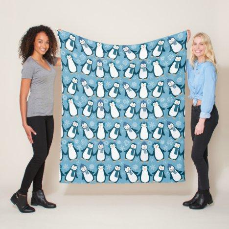 Cute Winter Penguins Design Fleece Blanket