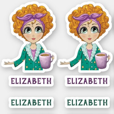 Cute Woman Nightgown Clipart Personalize Sticker