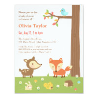 Cute Woodland Animal Baby Shower Card