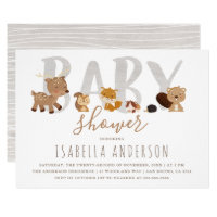 Cute Woodland Animals | Gender Neutral Baby Shower Card