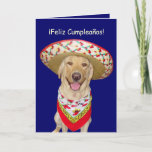 Cute Yellow Lab Feliz Cumpleanos Card