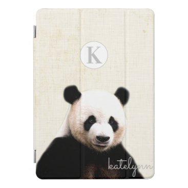 Cute Yellow Peek-a-Boo Panda Photograph Monogram iPad Pro Cover