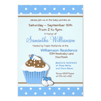 Cutie Blue Cupcakes Baby Sprinkle Invitations