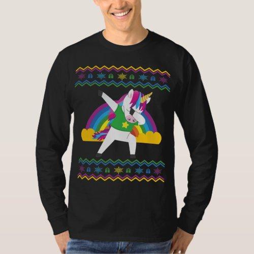 Dabbing Unicorn Rainbow Ugly Christmas Sweater