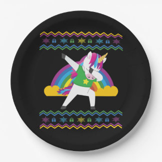 Dabbing Unicorn Rainbow Ugly Christmas Sweater Paper Plate