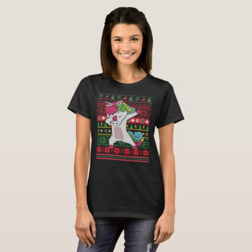 Dabbing Unicorn Ugly Christmas T-Shirt