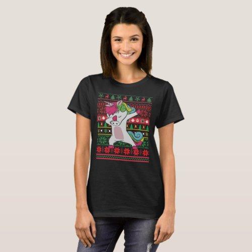 Dabbing Unicorn Ugly Christmas T-Shirt