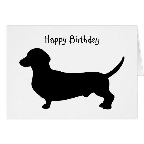 Dachshund dog silhouette cute custom birthday greeting card