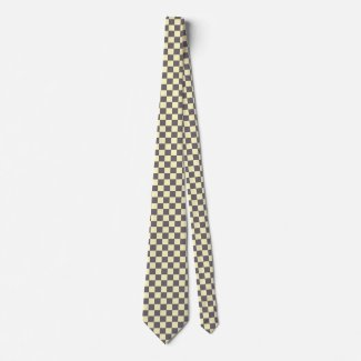 Dad Grey Checkerboard Retro Tie CricketDiane