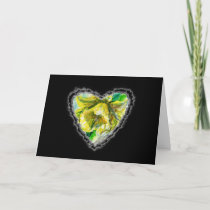 Daffodil Heart Valentine Love Romance Card