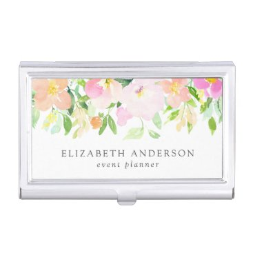 Dainty Watercolor Flowers | Pastel Floral Business Card Case