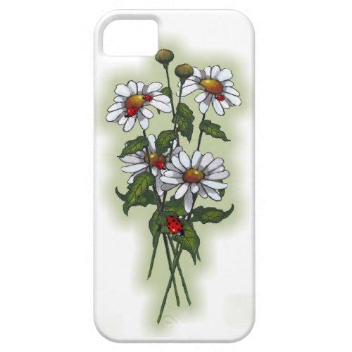 Daisies and Ladybugs, Ladybirds: Nature Art iPhone Case by joyart