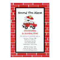 Dalmatian Puppy Fire Truck Birthday Party Card