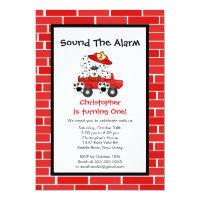 Dalmatian Puppy Fire Truck Birthday Party Card