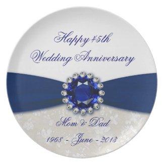 Damask 45th Wedding Anniversary Plate
