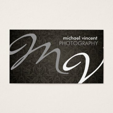 Damask Monogram Photographer Business Card