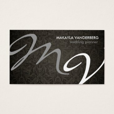 Damask Monogram Wedding Planner Business Card