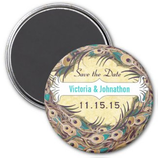 Damask Peacock Eggplant Aqua Save the Date Magnets