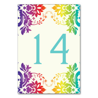 Damask Rainbow Wedding Table Number Place Card