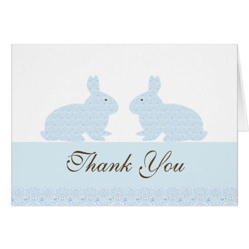 Damask Twin Bunny Rabbits Baby Shower Thank You