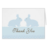 Damask Twin Bunny Rabbits Baby Shower Thank You Card