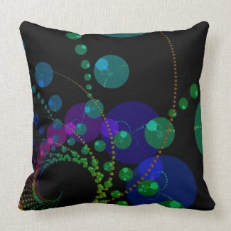 Dance of the Spheres II – Cosmic Violet & Teal throwpillow