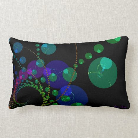 Dance of the Spheres II – Cosmic Violet & Teal Lumbar Pillow