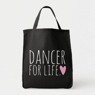 Dancer For Life Black with Heart Bags