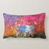 Dancing Elephants Lumbar Pillow
