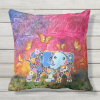 Dancing Elephants Throw Pillow