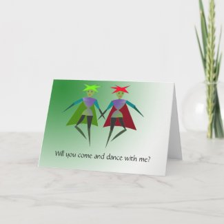 Dancing elves Greeting Card card