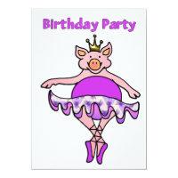 Dancing Pig in Tutu Birthday Invitation