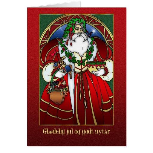 Danish Christmas Card Santa Claus Gldelig Jul Zazzle