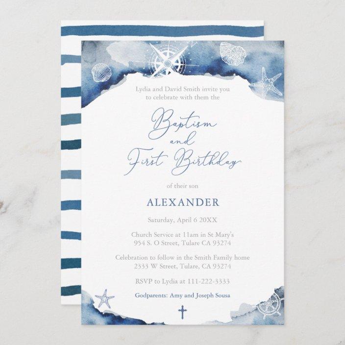 dark blue maritime boy baptism 1st birthday party invitation zazzle com