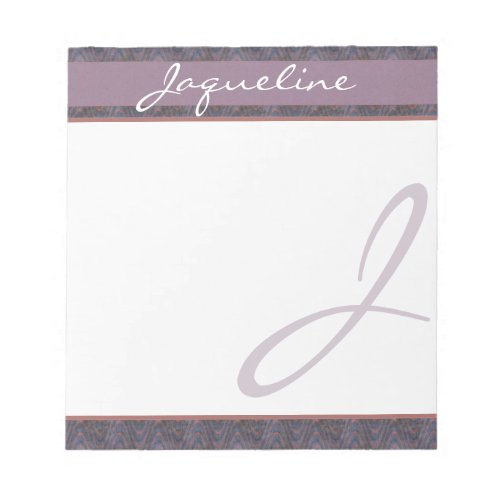 Dark Blue Mauve Rust Monogram Notepad