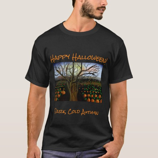 Dark Brown Cold Feelings Acrylic Painting Autumn T-Shirt