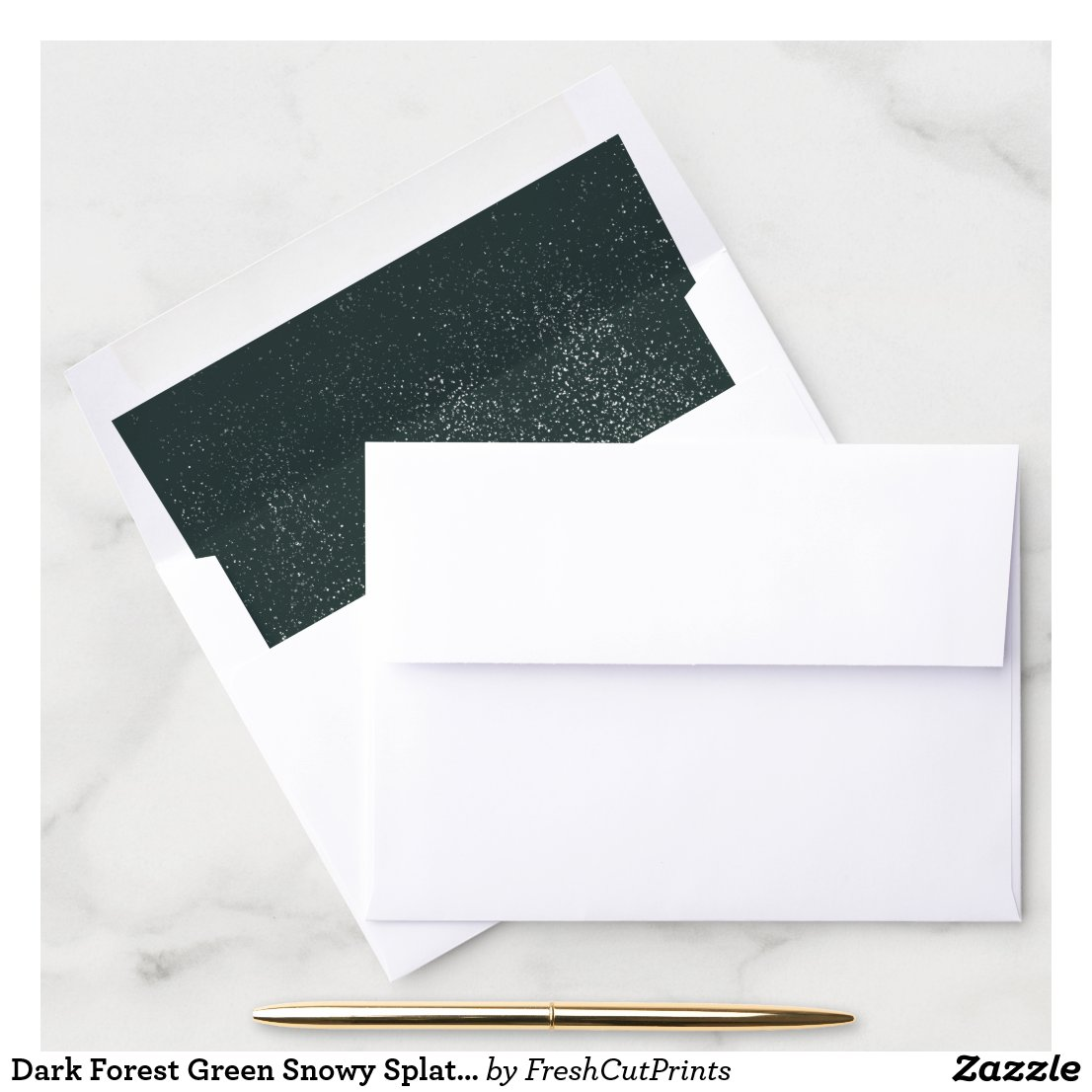 Dark Forest Green Snowy Splatter Abstract Holiday Envelope Liner