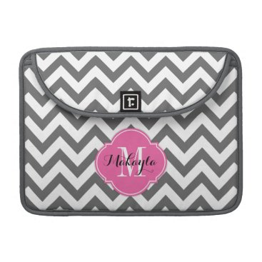 Dark Gray and White Chevron Pattern with Monogram MacBook Pro Sleeve
