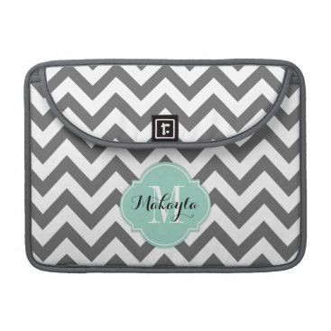 Dark Gray and White Chevron Pattern with Monogram Sleeve For MacBooks