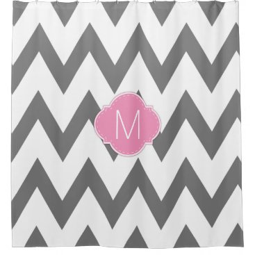Dark Gray and White Chevron Patterns with monogram Shower Curtain