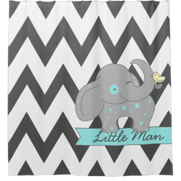 Dark Gray Chevron with Blue Polka-dots Elephant Shower Curtain