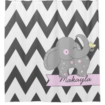 Dark Gray Chevron with Pink Polka-dots Elephant Shower Curtain