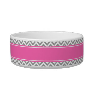 Dark Gray Lg Chevron Hot Pink #2 Name Monogram Pet Food Bowls