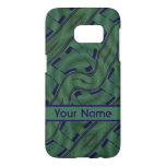 Dark Green Blue Abstract Shapes Pattern Samsung Galaxy S7 Case