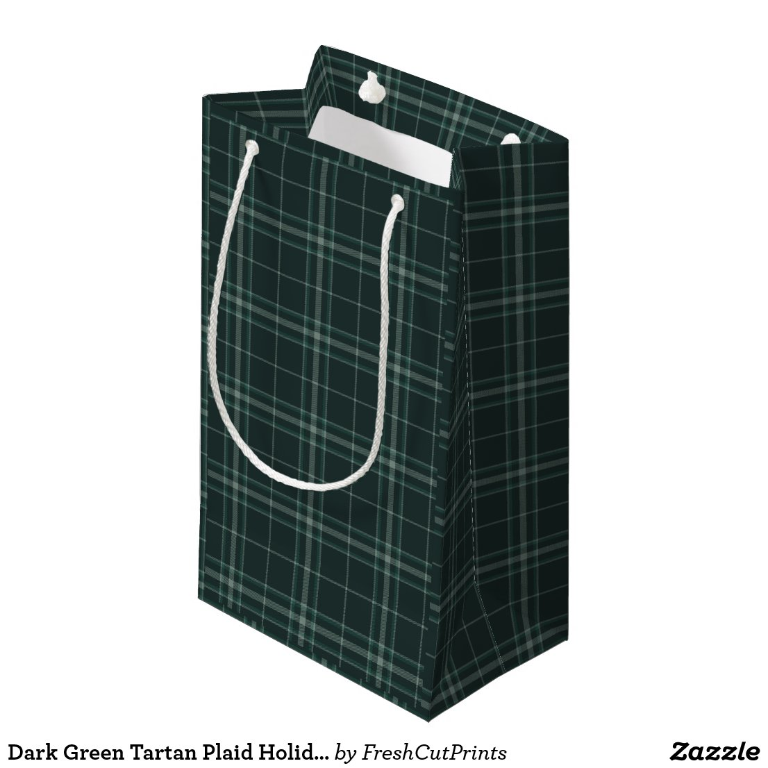 Dark Green Tartan Plaid Holiday and Christmas Small Gift Bag