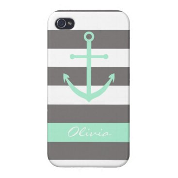 Dark Grey and Mint Anchor Monogram Case