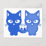 Dark & Light Blue Pixel Cats Holiday Postcard