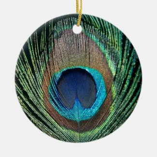 Dark Peacock Feather Christmas Ornament
