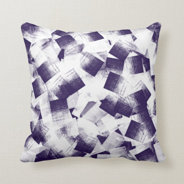 Dark purple and white abstract pillow