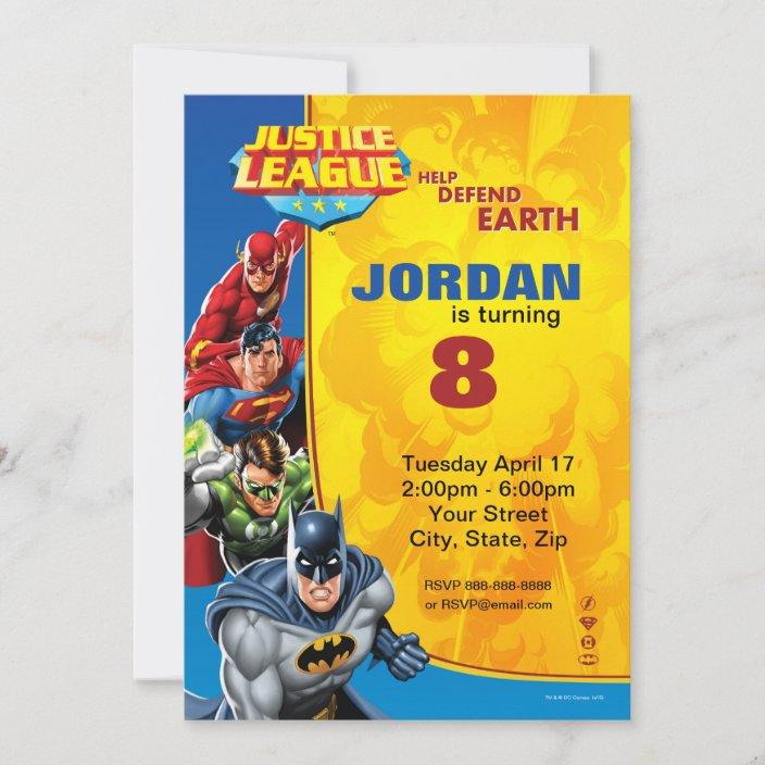 dc comics justice league birthday invitation zazzle com